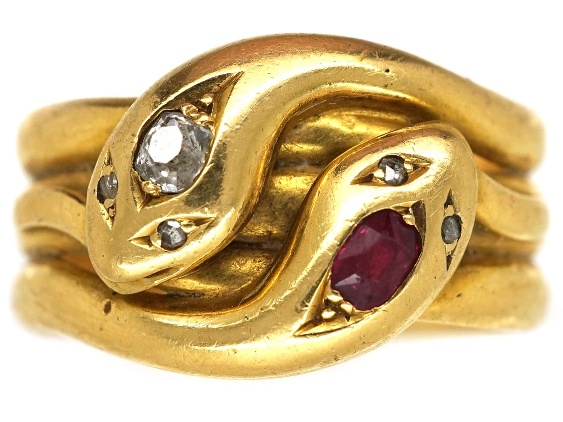 Victorian 18ct Gold Ruby Amp Diamond Double Snake Ring