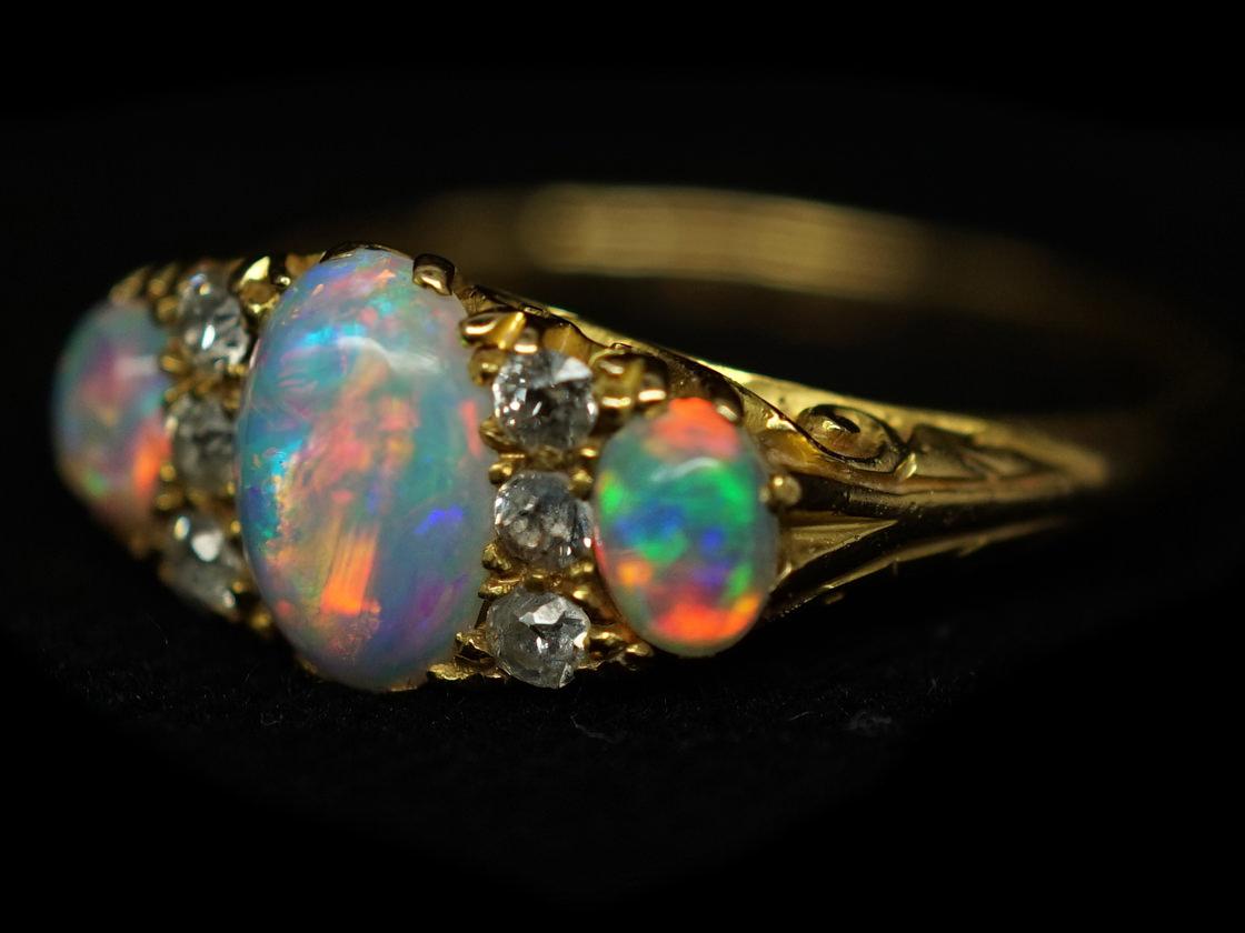 Edwardian 18ct Gold Three Stone Opal Amp Diamond Ring The