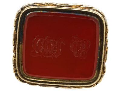 Georgian 18ct Gold Cased Seal With Carnelian Base With Monogram J W W