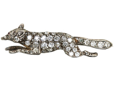 Edwardian Diamond Set Running Fox Brooch