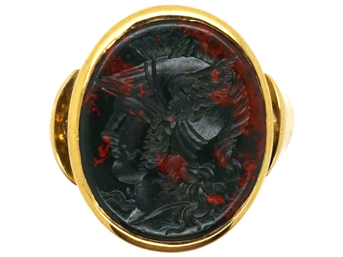 Victorian 9ct Gold Signet Ring With A Bloodstone Intaglio