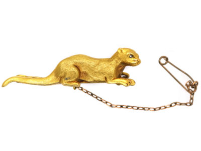 Edwardian 15ct Gold Brooch of an Otter