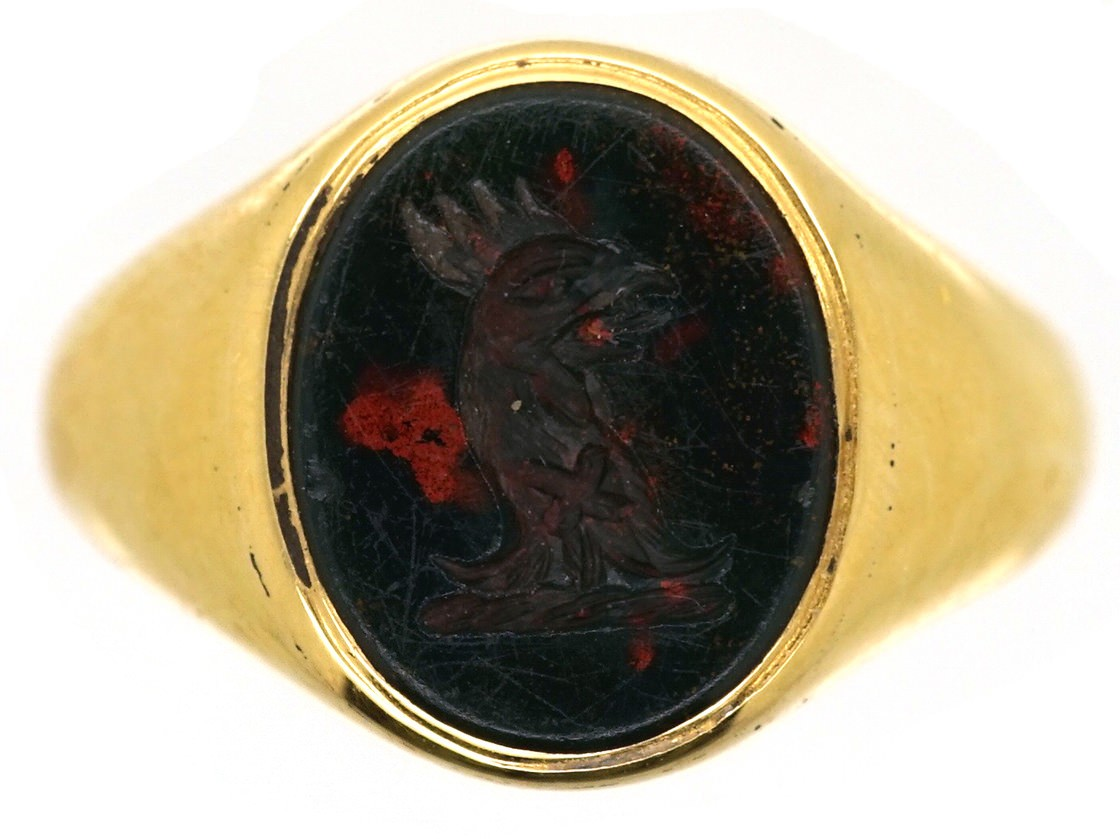 Late Victorian 18ct Gold Amp Bloodstone Signet Ring With A