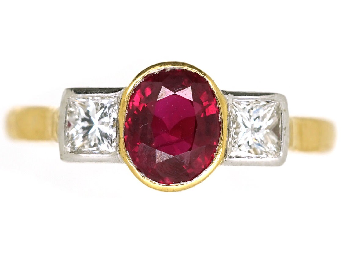 18ct Gold Diamond Amp Ruby Three Stone Ring The Antique