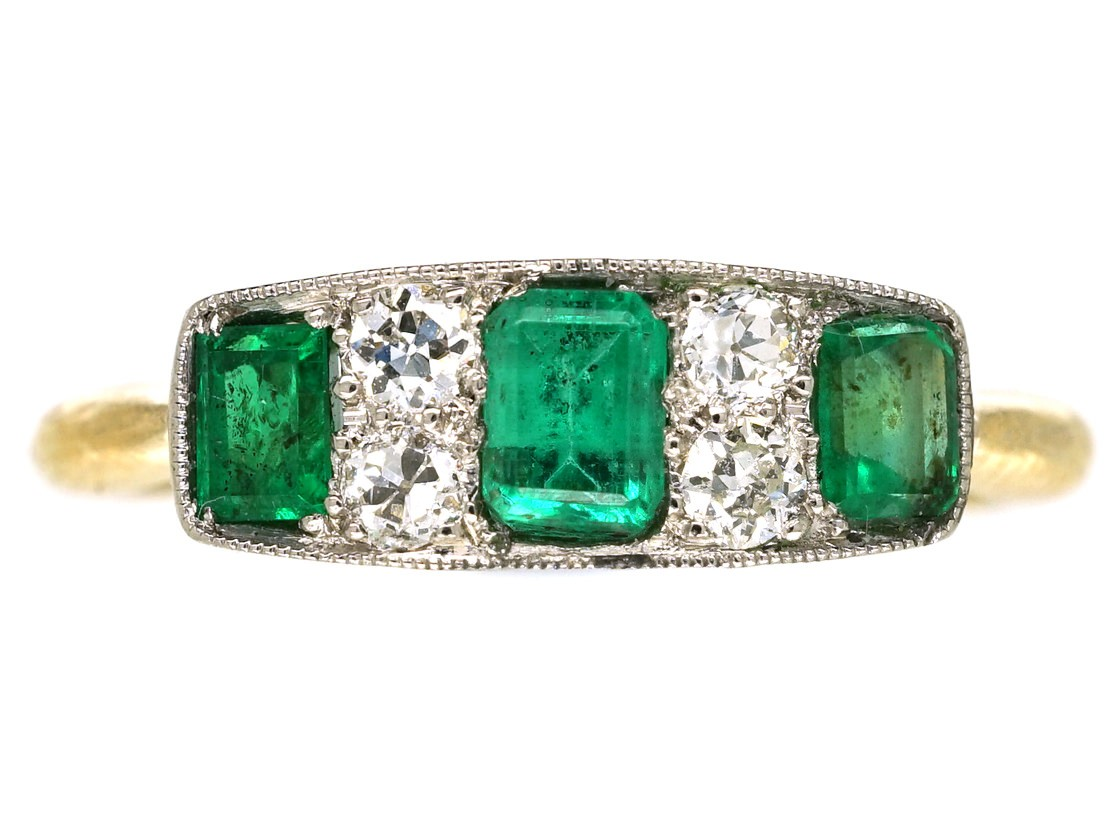 Edwardian 18ct Gold & Platinum Diamond & Emerald Three ...