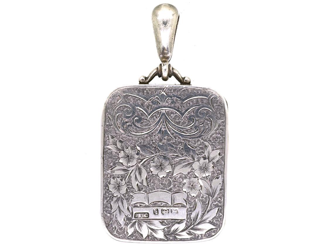 Victorian Rectangular Silver Amp Gold Overlay Locket The