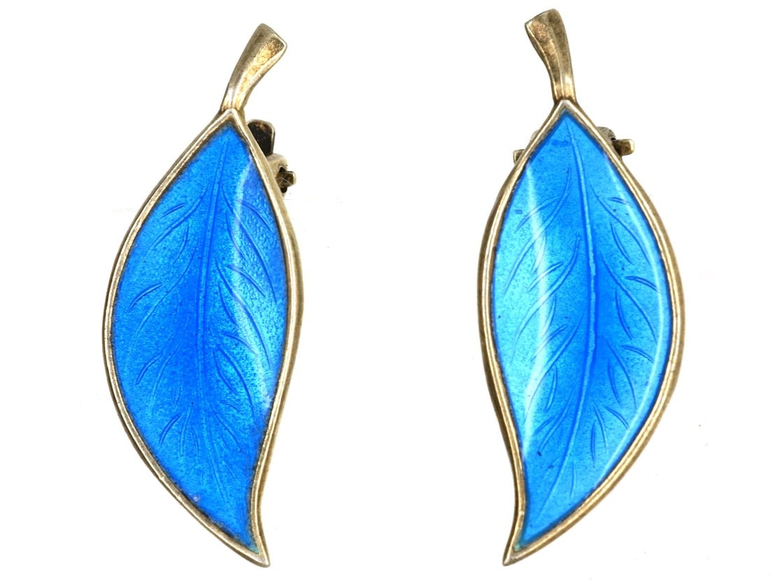 Silver Blue Enamel Earrings By Bjerring Brothers
