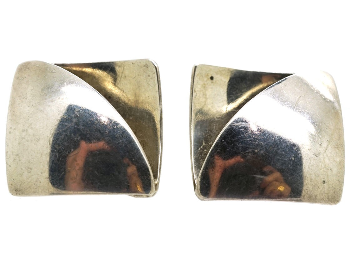 peter pin modernist silver earrings macchiarini measure macc wood long and signed