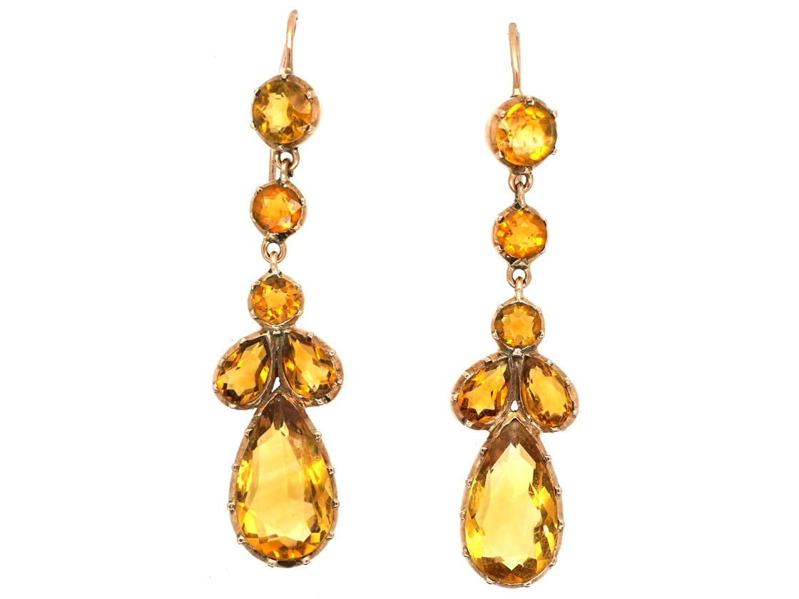 Victorian Gold Citrine Drop Earrings