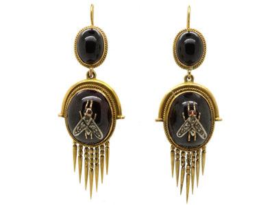 Victorian 15ct Gold Earrings Set With Cabochon Garnets & Diamond Set Flies