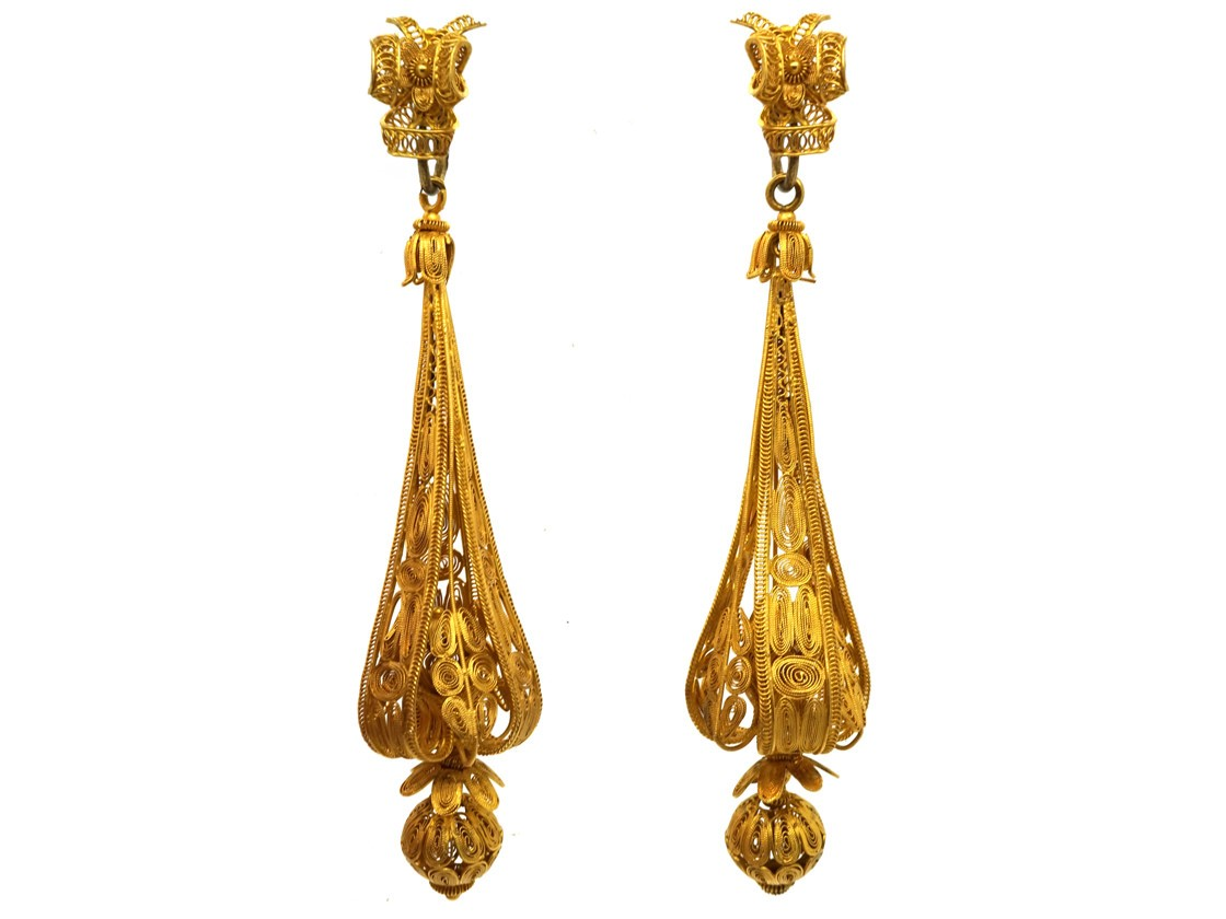 Georgian 18ct Gold Long Drop Earrings