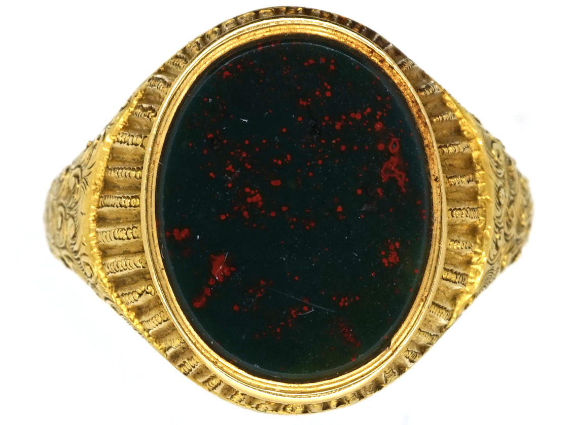 Victorian 18ct Gold Amp Bloodstone Signet Ring The Antique