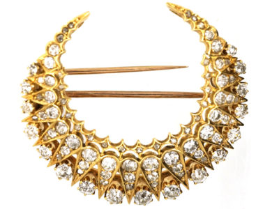 Victorian 18ct Gold & Diamond Crescent Brooch