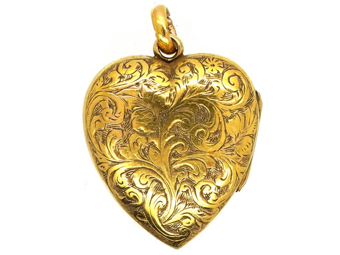 Edwardian 15ct Gold Heart Shaped Locket The Antique