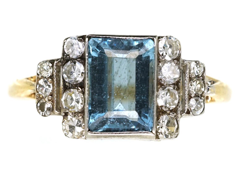 Art Deco 18ct Gold Amp Platinum Aquamarine Amp Diamond Ring