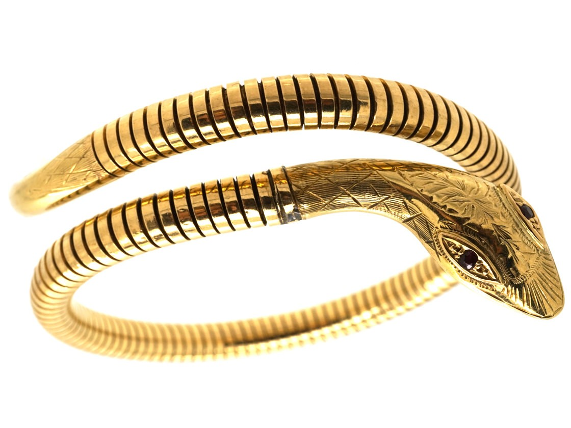 9ct gold ruby snake bangle the antique jewellery company