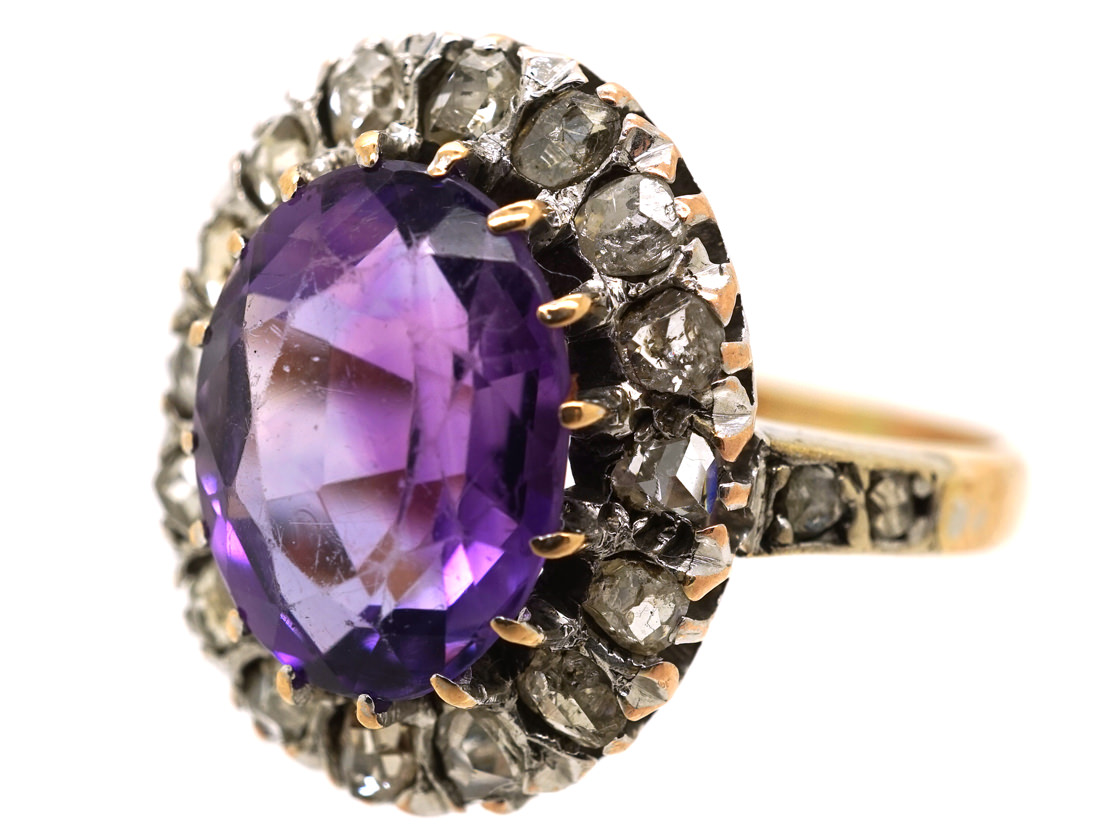 Edwardian Amethyst Amp Rose Diamond Oval Cluster Ring The
