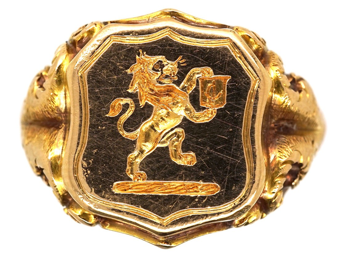 Victorian 18ct Gold Signet Ring With Lion Intaglio The