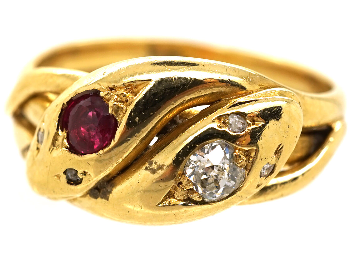 Victorian 18ct Gold Snake Ring Set With A Ruby Amp A Diamond
