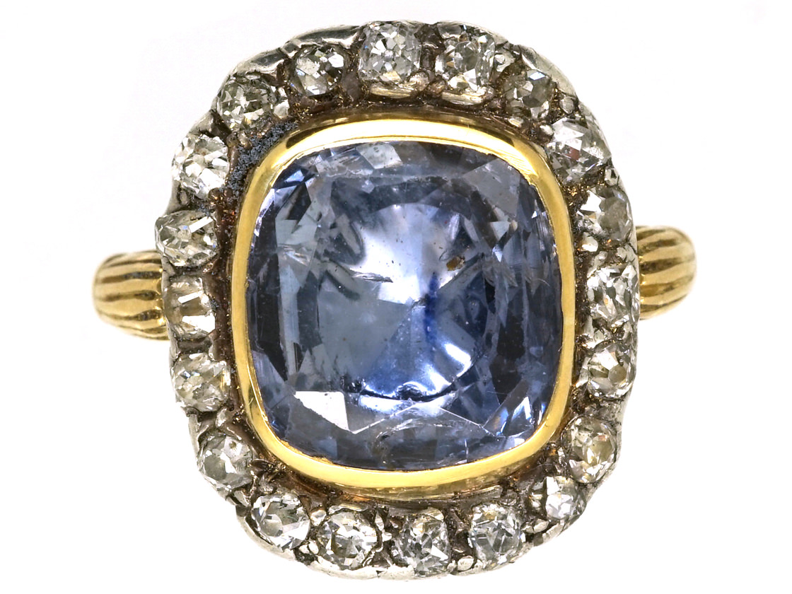 Georgian Sapphire Amp Diamond Ring The Antique Jewellery