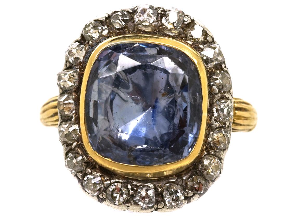 Georgian Sapphire Amp Diamond Ring The Antique Jewellery