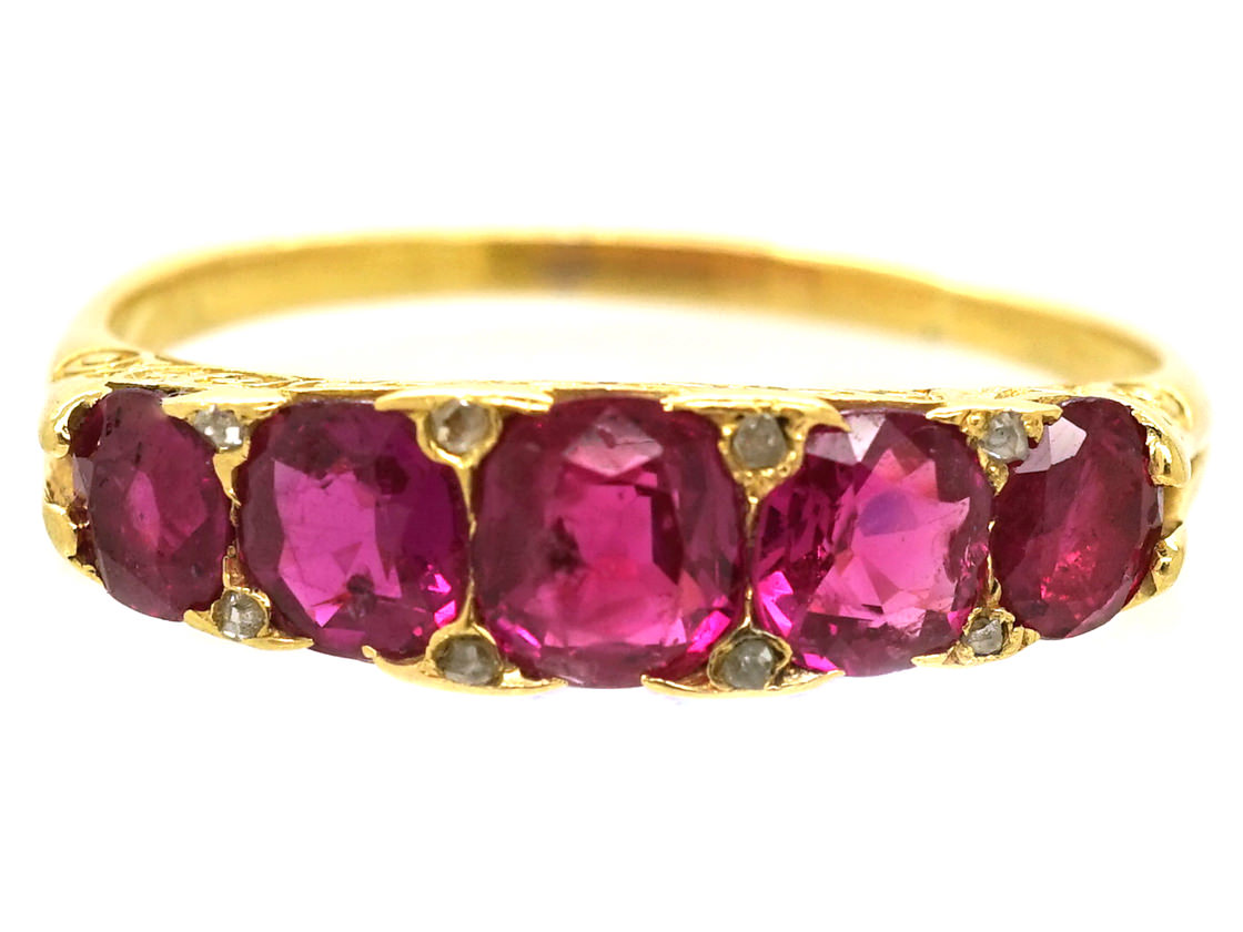Victorian 18ct Gold Five Stone Natural Burma Ruby Ring