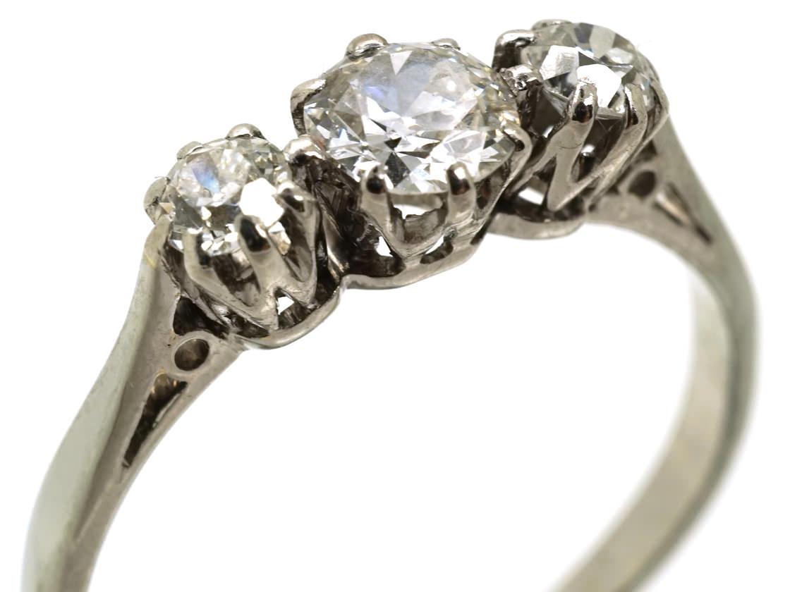 18ct white gold platinum three ring the