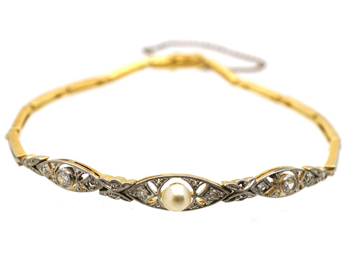 Edwardian 15ct Gold Amp Platinum Pearl Amp Diamond Bracelet