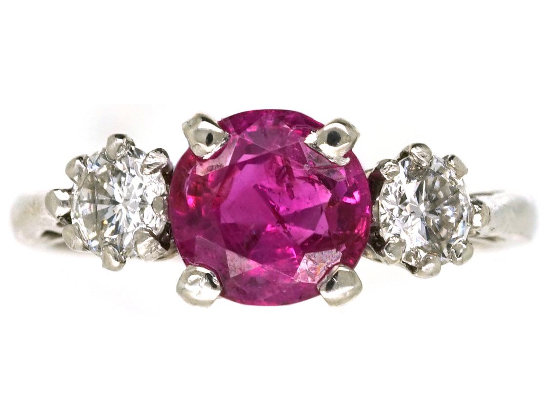 18ct White Gold & Platinum, Burma Ruby & Diamond Three Stone Ring ...