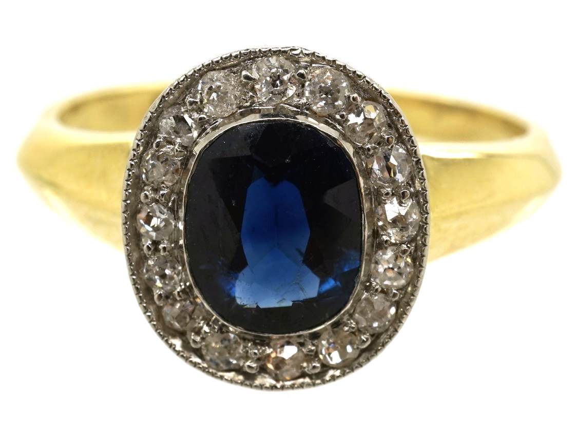 14ct Gold Sapphire & Diamond Oval Shaped Ring - The ...
