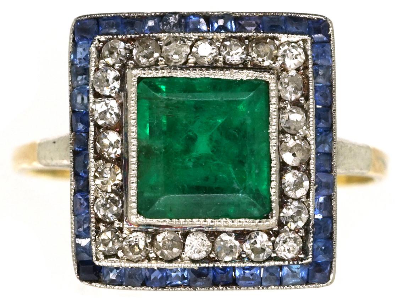Art Deco Sapphire Emerald Amp Diamond Square Ring The