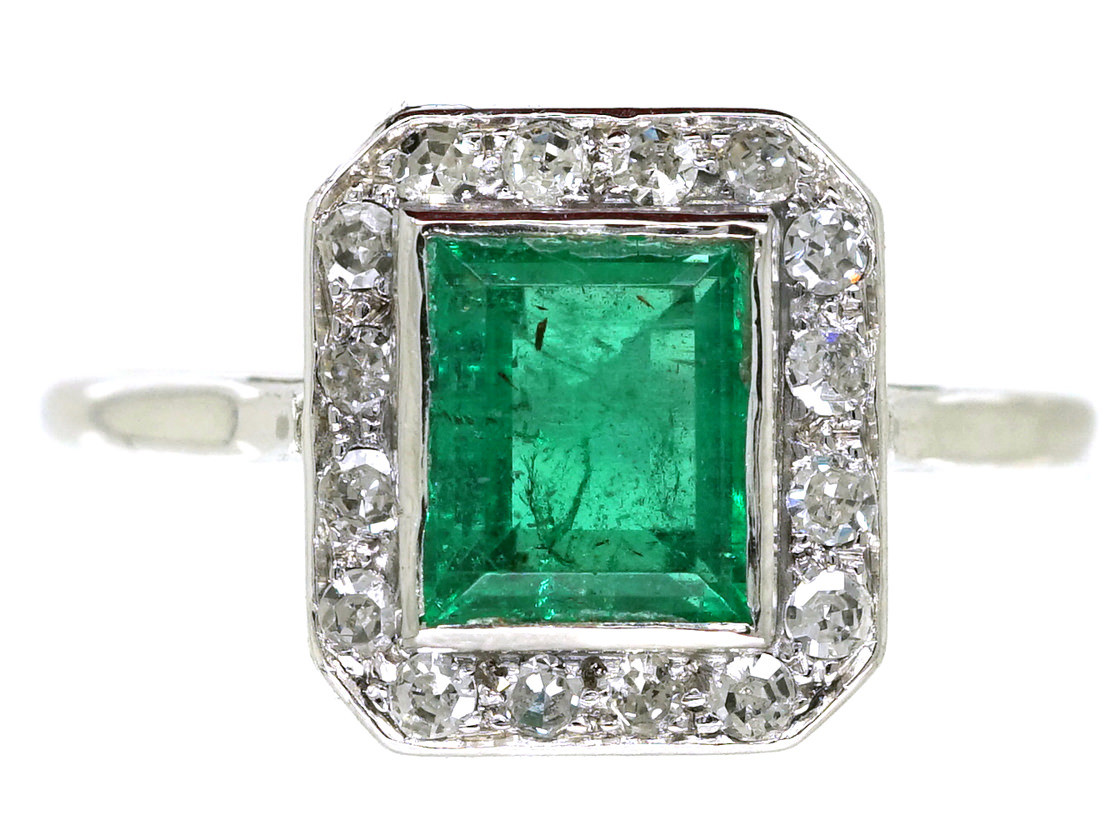 Art Deco 18ct White Gold Emerald Amp Diamond Rectangular