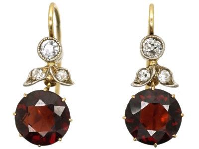 Edwardian Garnet & Diamond Drop Earrings