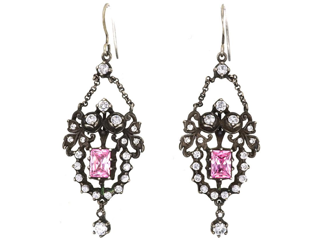 Edwardian Silver Pink White Paste Drop Earrings