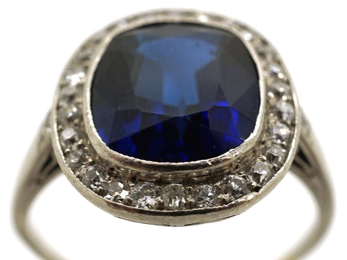 French Art Deco Synthetic Sapphire Amp Diamond Cluster Ring