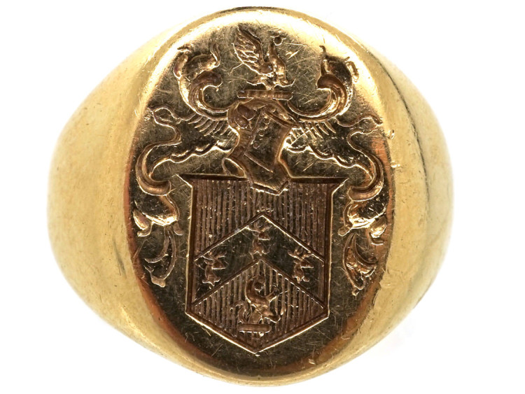 14ct Gold Signet Ring By Tiffany With Crest Intaglio The