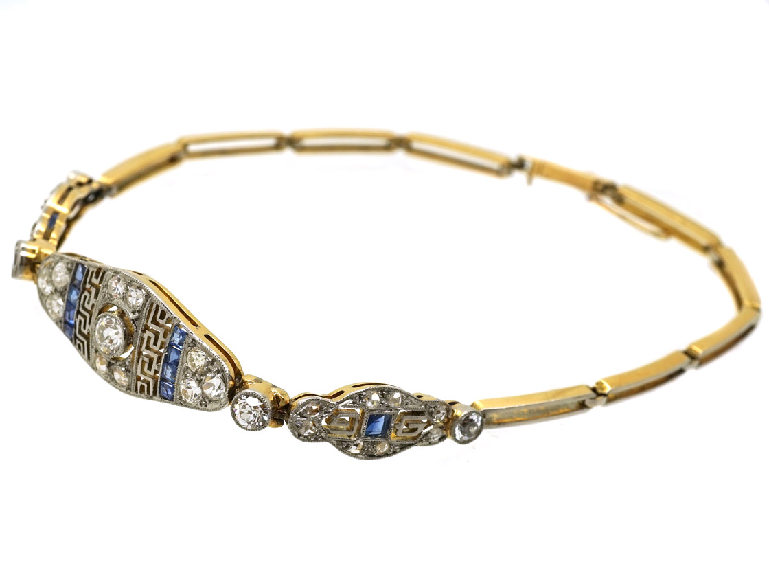 Art Deco 15ct Gold Amp Platinum Sapphire Amp Diamond Bracelet