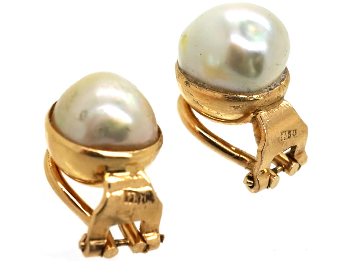 18ct gold clip on pearl earrings the antique jewellery. Black Bedroom Furniture Sets. Home Design Ideas