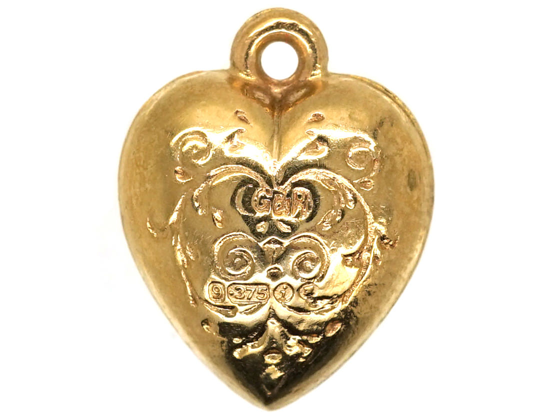 9ct Engraved Gold Heart Charm The Antique Jewellery Company