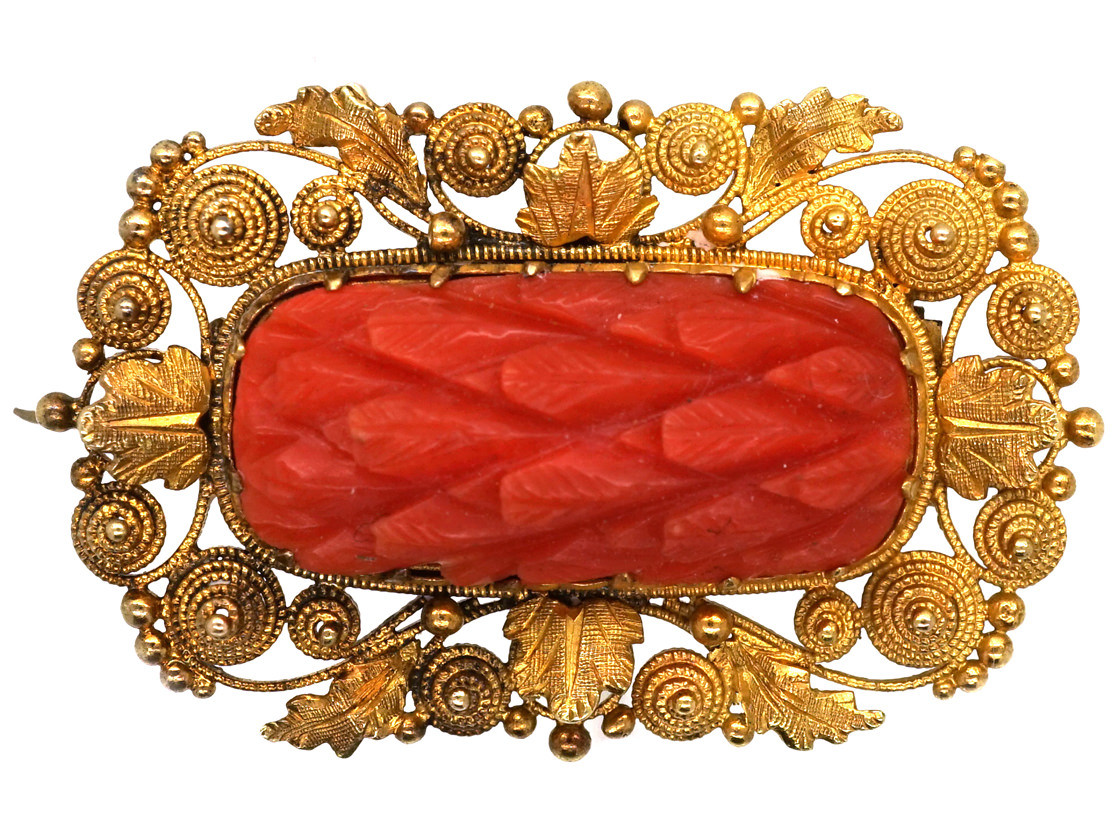 Georgian 18ct Gold Amp Pineapple Cut Coral Brooch The