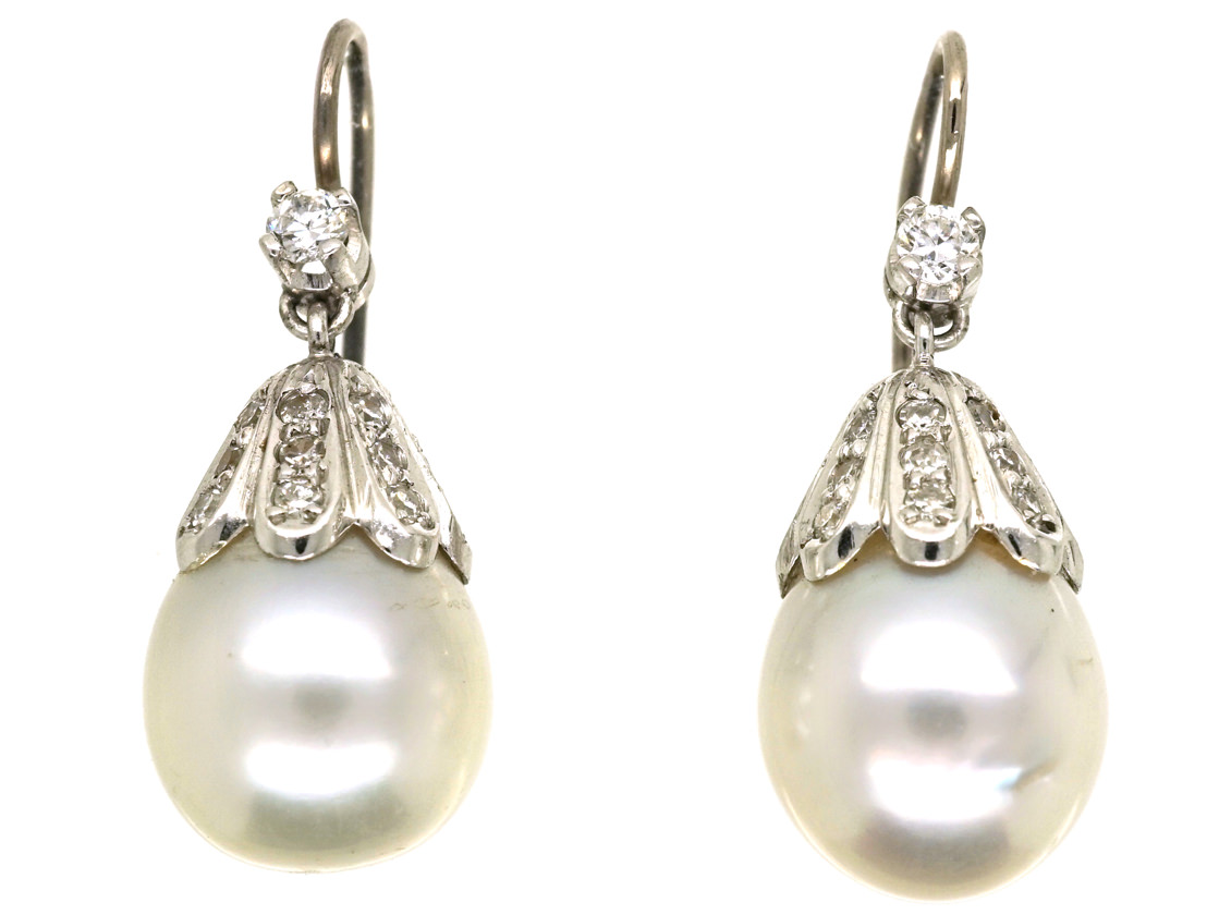 18ct White Gold Large Pearl Diamond Drop Earrings