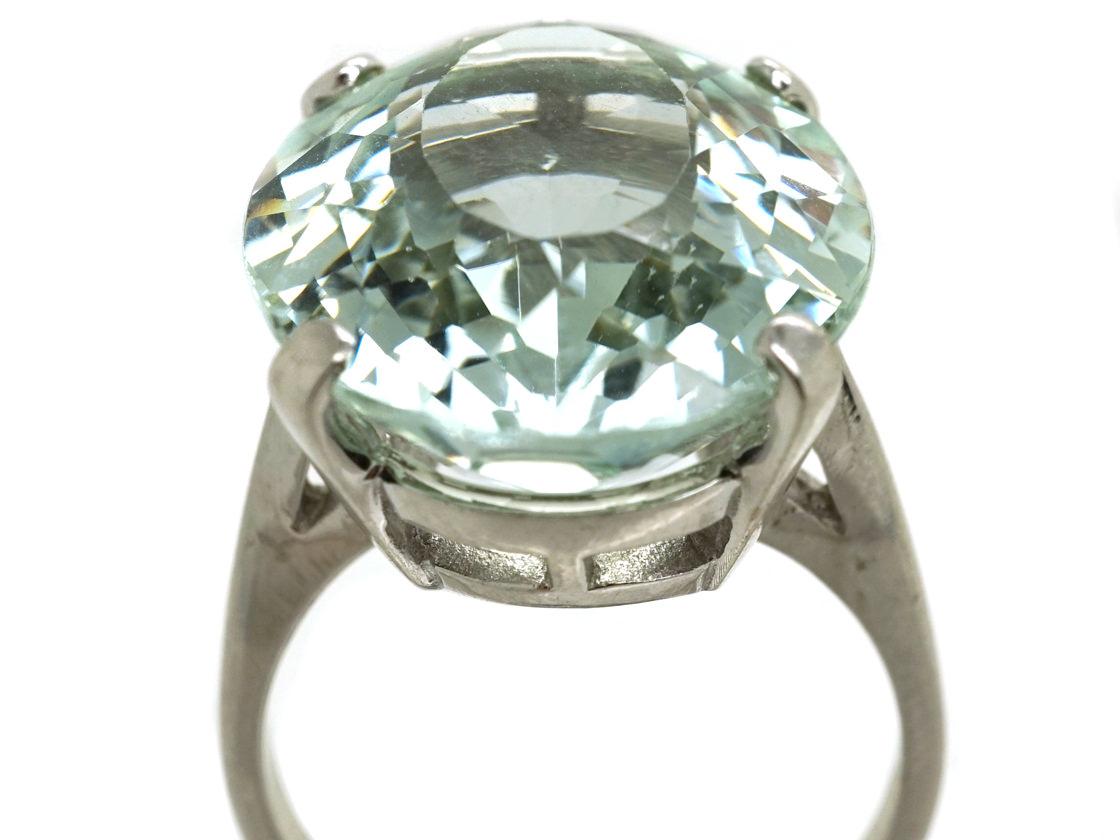 14ct White Gold Large Oval Aquamarine Ring The Antique