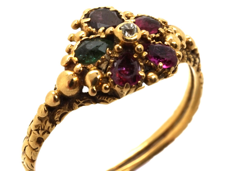 Georgian 18ct Gold Pansy Regard Ring The Antique