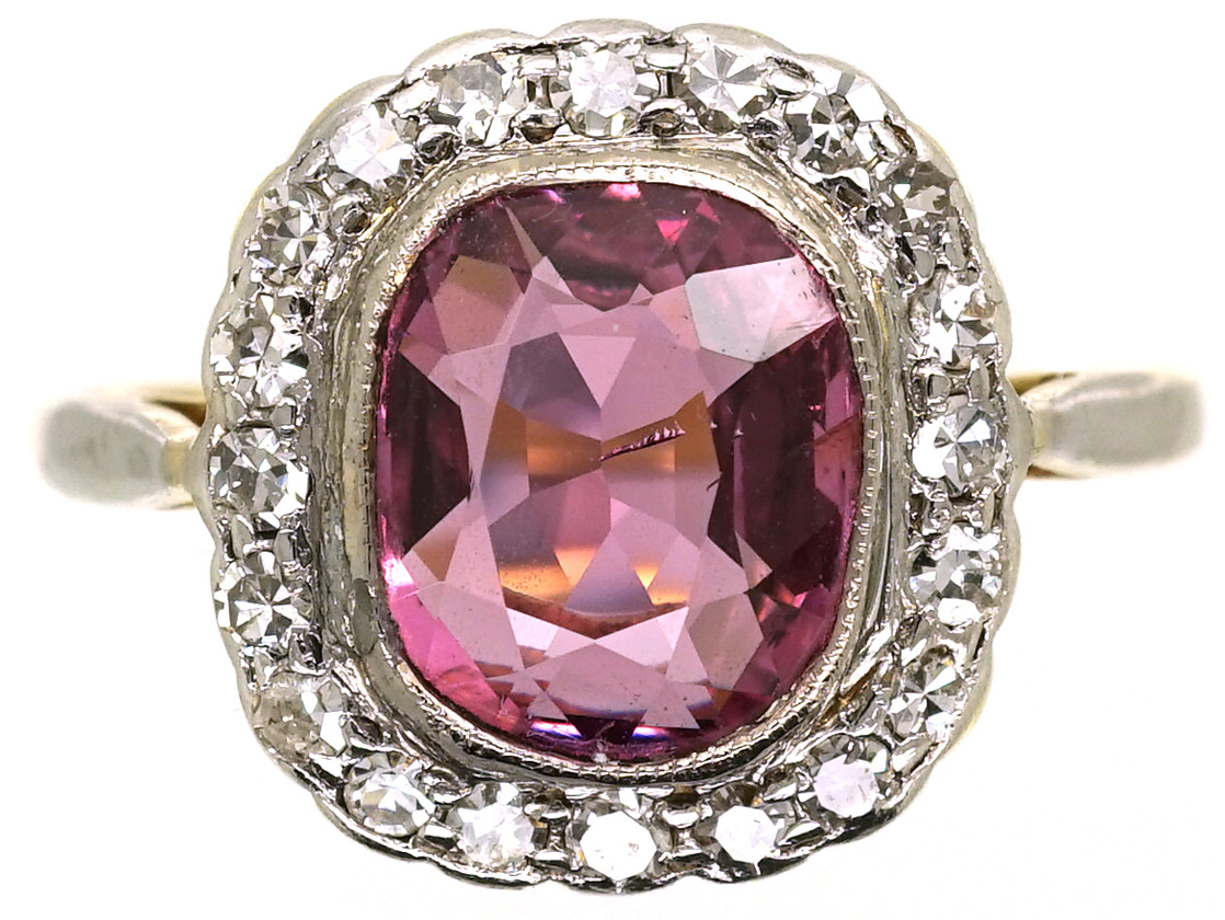 18ct Gold Platinum Natural Pink Spinel Amp Diamond Ring