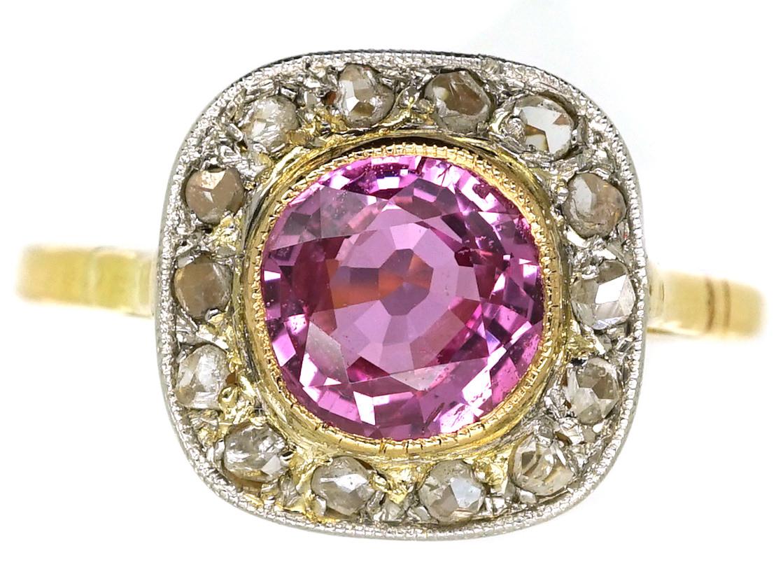 Edwardian 18ct Platinum Pink Sapphire Amp Diamond Ring