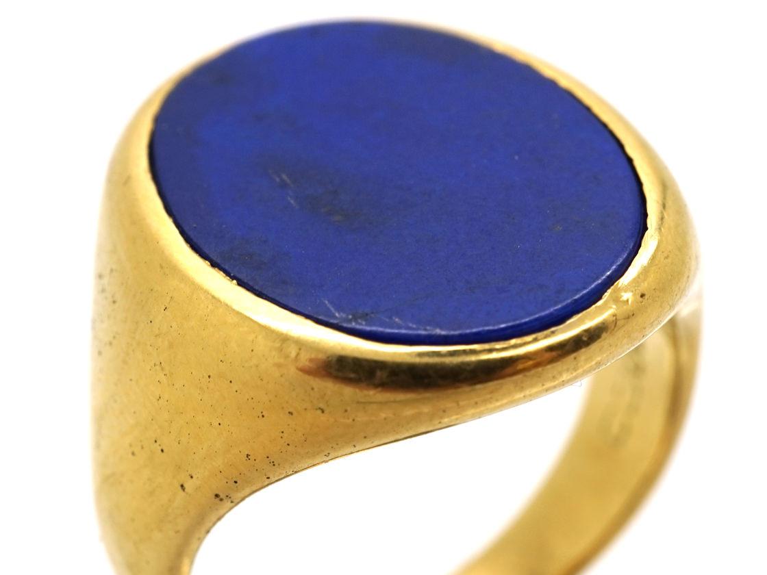 18ct Gold Amp Lapis Lazuli Signet Ring The Antique