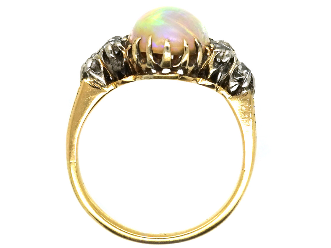 Edwardian 18ct Gold Opal Amp Diamond Ring The Antique
