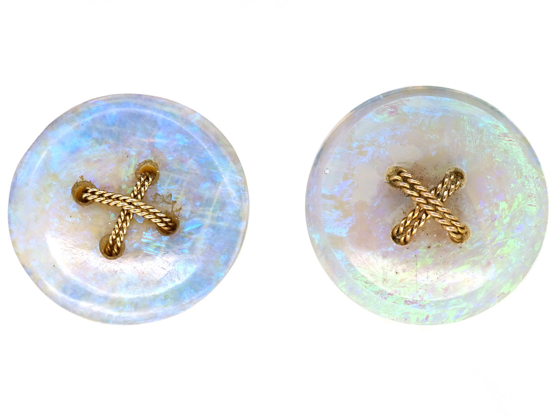 15ct Gold Opal Button Earrings The Antique Jewellery Company