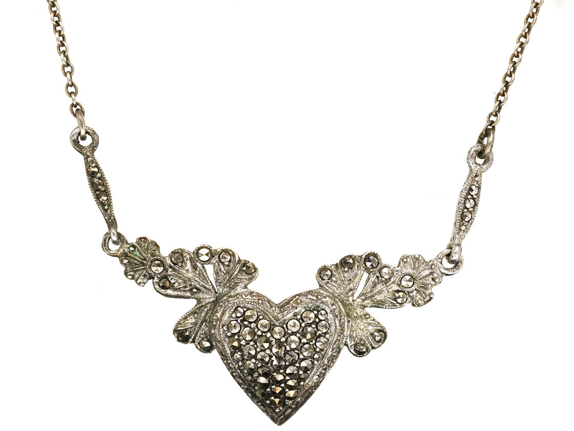 Heart Shaped Diamond Necklace Silver