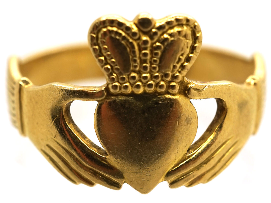 irish 18ct gold claddagh ring the antique jewellery company. Black Bedroom Furniture Sets. Home Design Ideas